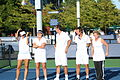 One Team - Iva Majoli, Conchita Martínez, Cédric Pioline, Mats Wilander, Kathy Rinaldi at the 2010 US Open 01.jpg