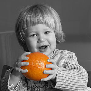 Free-form select - Coloring is a core motif in a black-and-white image.
