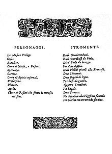 A decorated page showing two lists, respectively headed «Personaggi» (a list of characters) and «Stromenti»