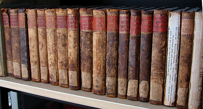 Books containing Latin translations of some of Origen's extant writings Origenes Opera.JPG