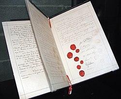Original document of the first Geneva Convention, 1864.