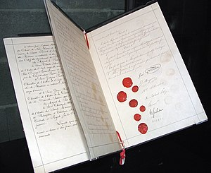 Geneva Conventions - The Geneva Convention: the signature-and-seals page of the 1864 Geneva Convention, that established humane rules of war.
