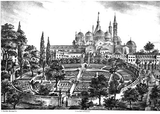 Orto botanico di Padova - The Botanical Garden of Padova (or Garden of the Simples) in a 16th-century print; in the background, the Basilica of Sant'Antonio.