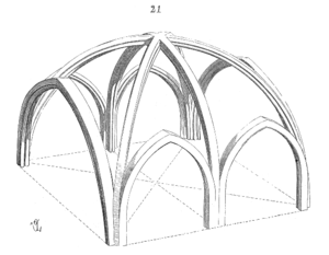 Structure of an early six-part Gothic rib vault. (Drawing by Eugene Viollet-le-Duc) Ossature.voute.arc.ogive.png