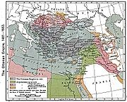 Ausdehnung des Osmanischen Reiches zwischen 1481 und 1683, darauf Kurdistan westlich des Van-Sees