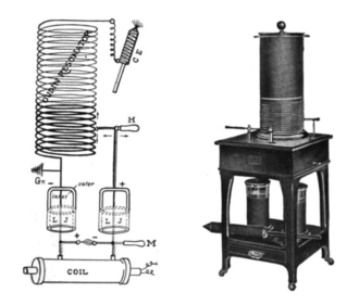 Oudin coil - Oudin coil used for medical electrotherapy, 1907, and a schematic diagram of its circuit (left).