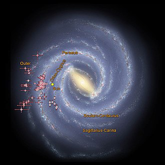 Barred spiral galaxy - Milky Way Galaxy spiral arms - based on WISE data.