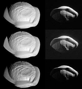 Pan (moon) - Image: PIA21436 Pan, 3 versions