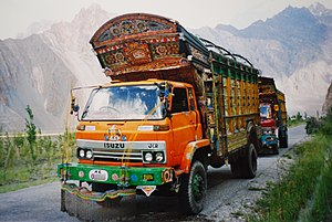 Karakoram Highway - Jingle trucks on Karakoram Highway.