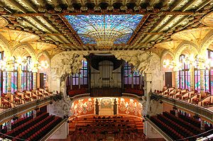 Inside of Palau de la Música Catalana