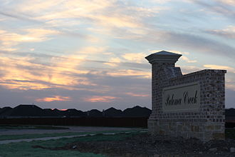 Little Elm, Texas - Sunset at Paloma Creek's entrance in Little Elm, Texas.
