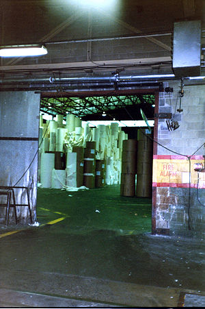 Paper storage room in a pulp and paper mill in...