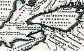 Partie occidentale du Canada ou de la Nouvelle France ou sont les Nations des Ilinois, Coronelli, 1688 (détail Niagara).jpg