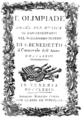 Pasquale Anfossi - Olimpiade - titlepage of the libretto - Venice 1774.png