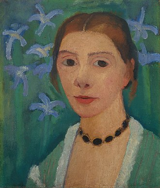 Paula Modersohn-Becker - Self-portrait with green background and blue irises, Paula Modersohn-Becker, c. 1905