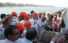 Pawan Kumar Bansal inspecting the damaged gate number 16 at the Farakka Barrage, Murshidabad district, West Bengal. The State Minister of Irrigation & Waterways, Micro & Small Scale Enterprises & Textiles.jpg