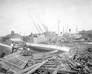 1906 Mississippi hurricane - View of Pensacola Harbor following the storm