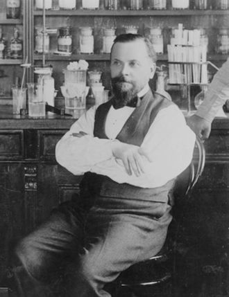 Per Teodor Cleve - Cleve in the lab, c. 1900