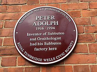 Subbuteo - Heritage plaque commemorating Peter Adolph's Subbuteo factory in Tunbridge Wells