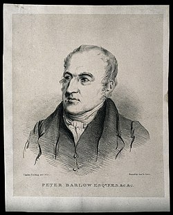 Peter Barlow. Stipple engraving after Thales Fielding, 1835. Wellcome V0000353.jpg