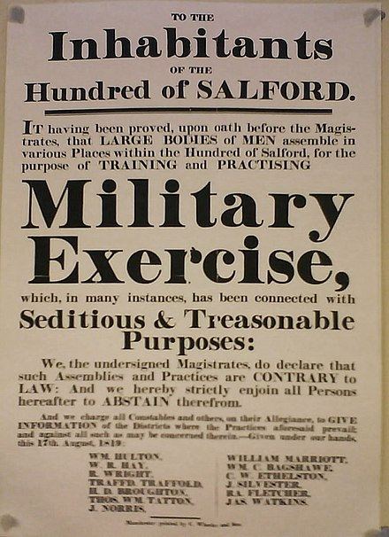 "Notice ""to the inhabitants of the Hundred of Salford"", published by the magistrates the day after the massacre Peterloo poster.jpg"
