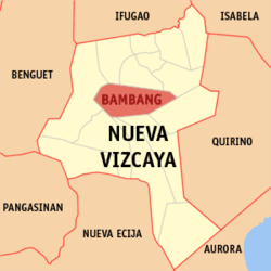 Map of Nueva Vizcaya showing the location of Bambang