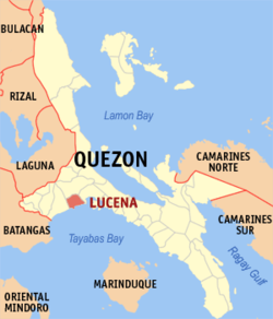 Map of Quezon showing the location of Lucena City