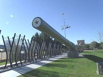 Wesley Bolin Memorial Plaza - The restored gun barrel from the USS Arizona on display in Wesley Bolin Plaza