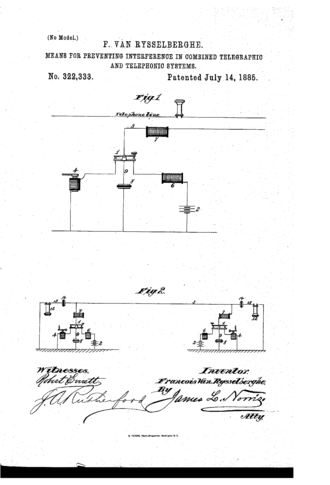 Condenser telephone - The 1895 Patent diagram of the Phonopore telephonic system