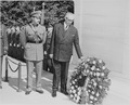 Photograph of President Juan Antonio Rios of Chile placing a wreath at the Tomb of the Unknown Soldier in Arlington... - NARA - 199235.tif