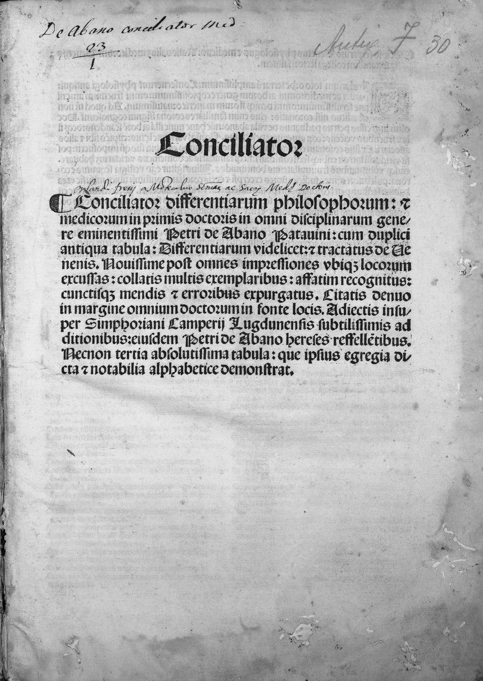 Pietro - Conciliator differentiarum philosophorum et precipue medicorum - 2989416