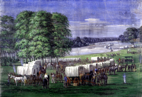 Settlers crossing the Plains of Nebraska. Pioneers Crossing the Plains of Nebraska by C.C.A. Christensen.png