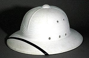American fiber helmet - President Harry Truman's pressed fiber sun helmet.  The four folds in the faux puggaree identify this as a Hawley Products model.