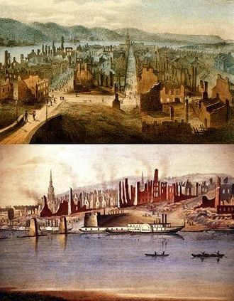 Great Fire of Pittsburgh - Views of Pittsburgh the day after the Great Fire. Detail from William Coventry Wall's print, Great Conflagration at Pittsburgh.