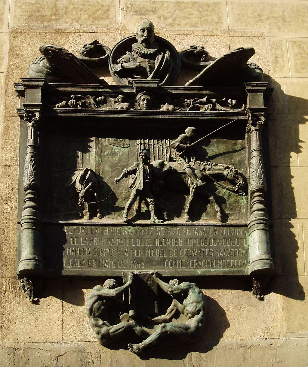 Placa en el número 87 de la calle Atocha de Madrid colocada con motivo del tercer centenario de El Quijote