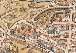 Plan de Paris vers 1550 eglise St-Marcel.jpg