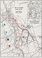 Diagram of the battle illustrating the positions for each of the Canadian Corps division and brigades. The map shows the westerly direction of the attack, up an over the topography of the ridge.