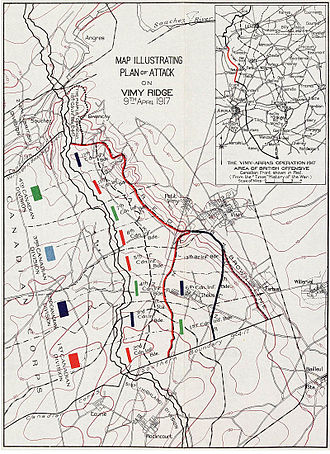 Battle of Vimy Ridge - The Canadian Corps plan of attack outlining the four coloured objective lines – Black, Red, Blue and Brown