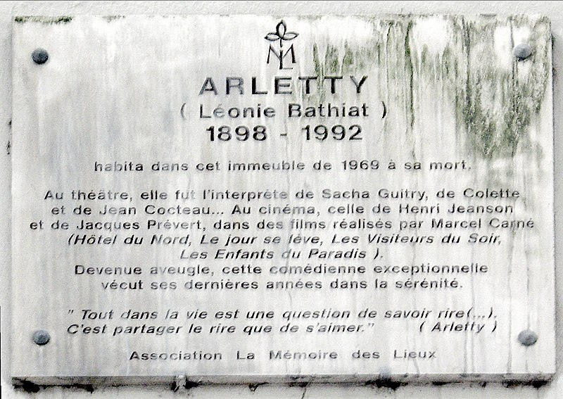 File:Plaque Arletty, 14 rue de Rémusat, Paris 16.jpg