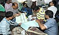 Polling officials checking necessary inputs required for the West Bengal Assembly Election, at the distribution centre, in Cooch Behar on May 04, 2016.jpg