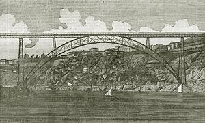 Maria Pia Bridge - A view of the Mia Pia Bridge in 1877