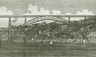 Maria Pia Bridge - A view of the Mia Pia Bridge in 1877