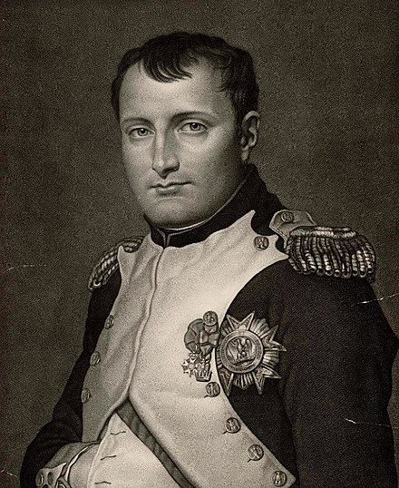 Engraving of 'Napoleon le Grand', ca 1810 from a portrait by Noel Francois Bertrand Portrait of Napoleon le Grand (4674756).jpg