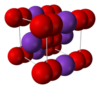 Structure of solid potassium superoxide (KO 2). Potassium-superoxide-unit-cell-3D-ionic.png