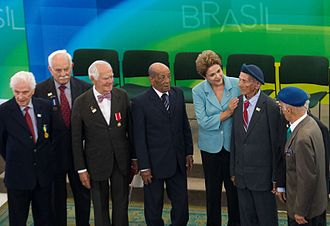 Veteran - Brazilian President Dilma Rousseff with veterans of the Brazilian Expeditionary Force during a ceremony to commemorate the 70th anniversary of the end of World War II, May 8, 2015