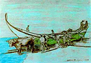 Mira, Portugal - A drawing showing the economic life of Praia de Mira