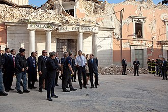 35th G8 summit - Barack Obama visited L'Aquila to see the earthquake damage.