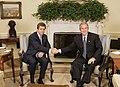 President George W. Bush shakes hands with Bulgarian President Georgi Purvanov.jpg