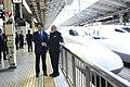 Prime Minister Narendra Modi greets Japanese PM Abe before boarding a Shinkansen bullet train to Kobe.jpg