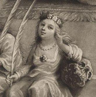 Margaret Stuart (1598–1600) - Margaret accompanies her siblings in an 1814 mezzotint by Willem van de Passe.